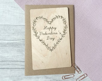 Happy Valentine's Card - Wooden Valentines Day Card - Valentines Keepsake - Card for Girlfriend - Card for Wife - Heart Wreath - Laser Cut