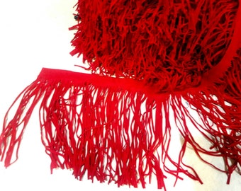 "7.5"" width, Red Suede Tassels, curtain accessories, dress ornament, inch tassels, tassels, polyester ornamental trimming, crafts, projects"