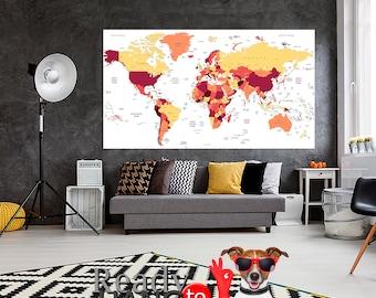 World Travels Map, Push Pin Travel Map, Push Pin World Map, Wall Art Set, World map large, World map wall decor, World map home decor, Print