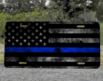 Metal License Plate, Thin Blue Line American Flag 6x12