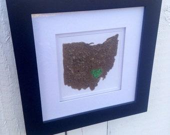 Ohio Dirt Map-Ohio University-Athens Ohio- Go Bobcats- 10x10 frame