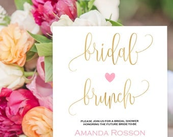 Gold Wedding Bridal Brunch Invites Pink Blush Wedding Printable Invitation Editable Tex Downloadable Wedding - We Do Honey #WDH304_28
