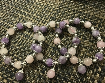 Exclusive Designed Natural Lavender Amethyst and Rose Quartz Crystal bracelet with Custom Charm