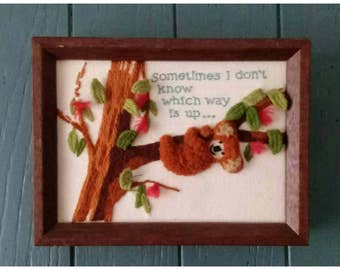 Vintage Embroidered Framed Art- Koala- Sometimes I Don't Know Which Way Is Up