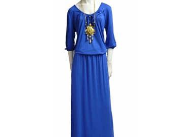 XL dress vintage plus suize blue gown maxi maxidress NEW Extra XXL 70s