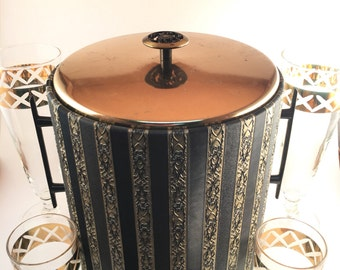 MCM Westbend Thermo-Serv Ice Bucket | Mid Century Modern Westbend Ice Bucket Black and Gold