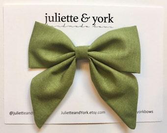 Moss Green Sailor Bow Clip, baby bows, baby bow clip, bow alligator clip