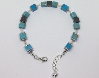 Aqua, Blue Cube Bead Bracelet
