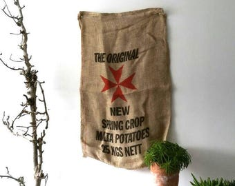 Vintage rustic burlap old potato bag * vintage burlap sack * farmhouse house decoration * printed jute bag