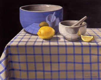 Blue Bowl with Lemon, Still Life giclee from original oil painting on canvas, Realism