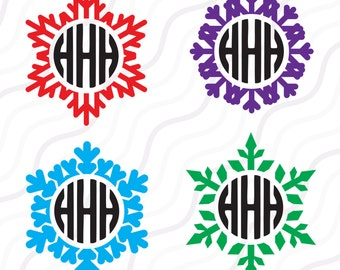 Snowflakes SVG, Christmas SVG, Snowflakes Monogram SVG Cut table Design,svg,dxf,png Use With Silhouette Studio & Cricut_Instant Download