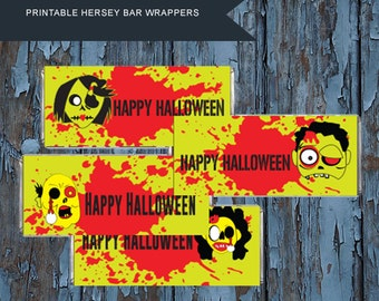 Halloween, Candy Wrappers,Halloween Candy Bar Wrappers,Zombie,Spooky  Wrappers,Halloween Favors,Halloween party,Trick or treat, printable