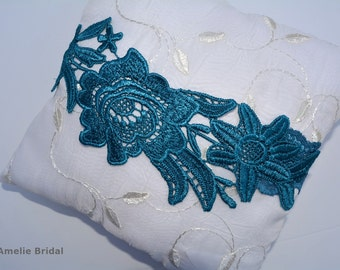 Wedding Garter, Blue Flower Garter, Garter Set Lace, Blue Bridal Garter, Teal Blue Garter, Bridal Garter, Something Blue, Bridal Garter Set
