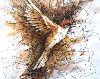 Original Sparrow Watercolour & Ink A5