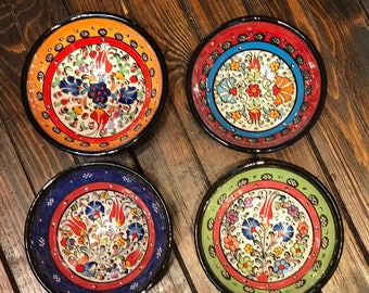 "Turkish handmade bowl set comes with 4 different, Yellow, Light Green, Dark Blue and Red.The diameter of the bowl is measures 4,5""inc"