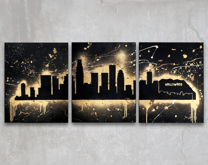 los angeles // custom original painting // modern triptych // hollywood california city skyline //  metallic large wall art // silhouette