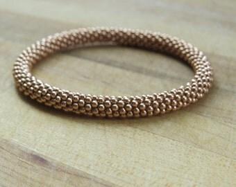 Rose Gold Filled Crochet Bracelet - 2mm Beads