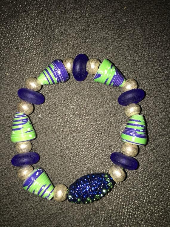 Seahawks sea glass and paper beaded bracelet keychain! One of a kind