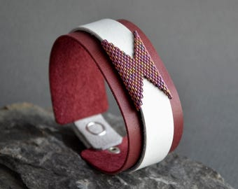 White burgundy womens leather cuff bracelet Burgundy leather cuff bracelet for women Leather bracelets with beads for women