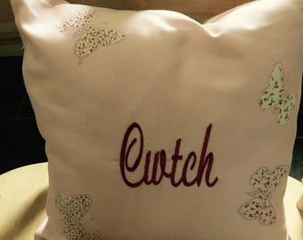 Handmade and embroidered Butterfly  Cwtch Cushions