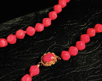 Vintage European 1800's Ox blood red Coral Art Nouveau necklace highest grade & quality Oxblood red Coral same tone of brilliant blood red.