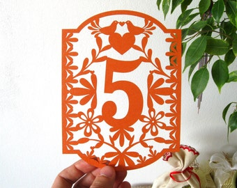 Table Numbers, Papel Picado Numbers, Mexican Wedding, Colorful Mexican Fiesta