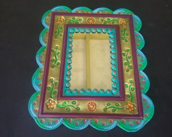 Mexican painted tin mirror