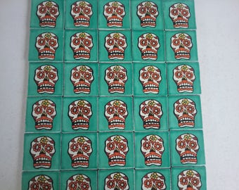 Mexican Day of the Dead tiles x 30 ( 5cm x 5cm each )