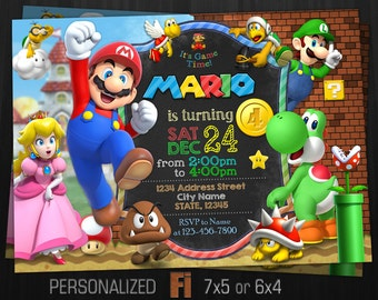 Super Mario Invitation, Super Mario Birthday Party, Personalized, Printable, Digital File