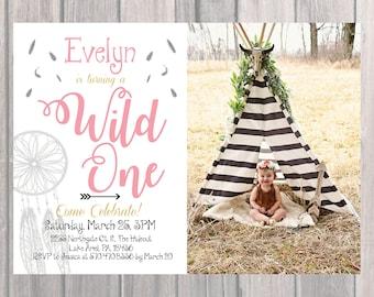 Wild One Birthday Party Invite, Custom Birthday Invite with Photo