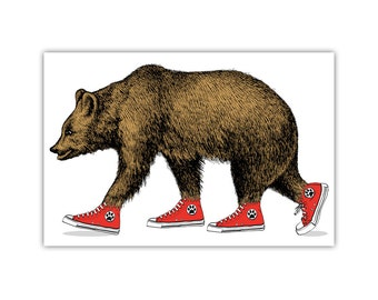 Bear Print, Grizzly, Sneakers, Canvas, Kids Wall Art, Large Poster, Animal Decor