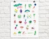 Vegetable Alphabet Giclée Print   ABC Veggie Vibes Poster   Kitchen Wall Art   Children's Illustration   Kid's Room Decor
