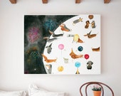 Dachshund Soirée Art Print   Dog Wall Art   Children's Illustration   Kid's Room Decor