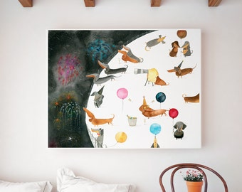 Dachshund Wall Art dachshund astronaut art print dog wall art kid's room