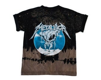 Kids Bleached Rock Band T-Shirt // Metallica