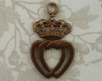 Vintage French Crown Pendant(1pc)French Interlocking Hearts Crown Stamping/Vintage French Finding/Vintage French Charm/French Heart Charm