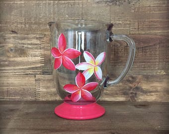 Hand painted plumeria flower coffee or tea mug