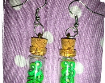 Glass bottle earrings with fruits-bottles with fruit
