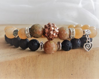 Couples bracelets of Aventurine, Unakite and Lava stone, special Valentine's day