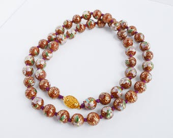 """Vintage Cloisonne Necklace Hand Knotted Rust with Gold Floral Beads 25"""" L"""