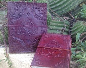 Leather Medieval Journal - Leather Notebook Celtic Symbol - Triquetra Leather Journal -  Leather Rustic Sketchbook - Leather Blank Book