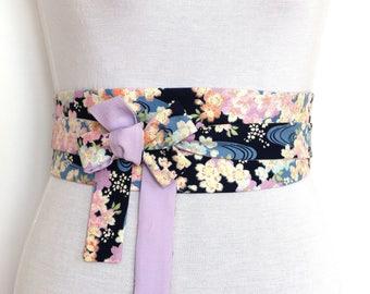 Reversible Waist belt, Obi style - Sakura Blossom