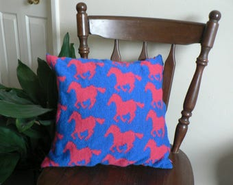 Pink and Blue Horse Patterned Knitted Cushion