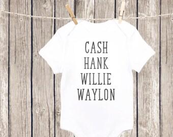 Country Music Baby Onesie, Cash, Hank, Willie, Waylon