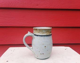 White Ceramic 16 oz. Stein with Blue Accent
