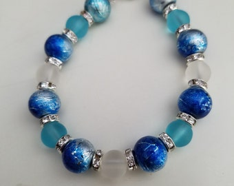 Child Sized cobalt blue, aqua and silver bracelet