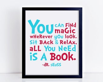 All you need is a book, dr seuss quote, dr seuss printable, printable quote, digital print