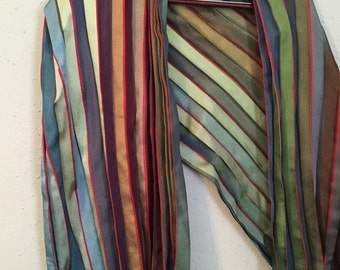 Beautiful Silky Rainbow Accordion Scarf