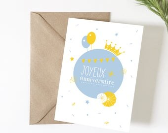 Child's birthday, happy birthday greeting card, summer, yellow card, cute card, party, birthday party, stationery