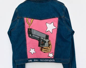 Bang Bang Gun Handpainted Pink Pop Art Cartoon Denim Jean Jacket